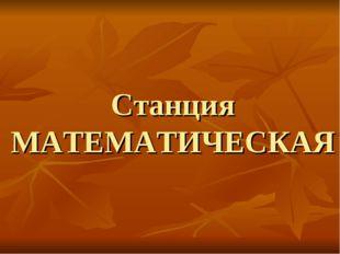 Станция МАТЕМАТИЧЕСКАЯ