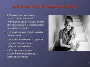 ПРИЧИНЫ ДЕТСКОГО НЕБЛАГОПОЛУЧИЯ 1.Кризисные явления в семье: нарушение её стр