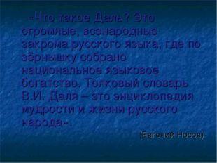 «Что такое Даль? Это огромные, всенародные закрома русского языка, где по зё