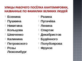 Есенина Пушкина Никитина Кольцова Шевченко Калинина Петровского Розы Люксембу