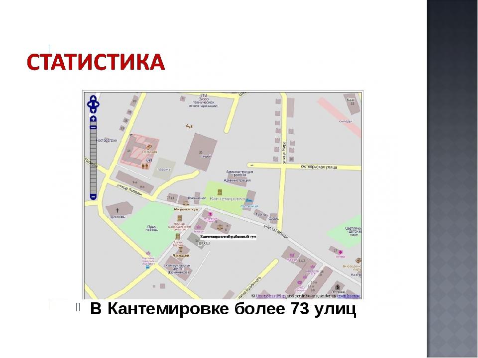 В Кантемировке более 73 улиц