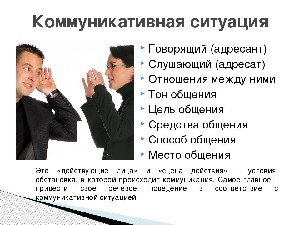 Говорящий (адресант) Слушающий (адресат) Отношения между ними Тон общения Цел...