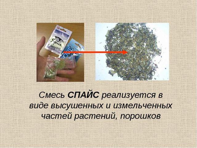 Смесь СПАЙС реализуется в виде высушенных и измельченных частей растений, пор...