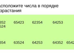 Расположите числа в порядке возрастания 64352 65423 62354 64253 63524 62354 6