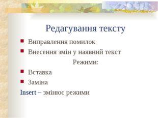 Редагування тексту Виправлення помилок Внесення змін у наявний текст Режими: