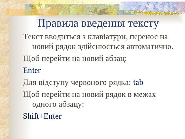 Правила введення тексту Текст вводиться з клавіатури, перенос на новий рядок...