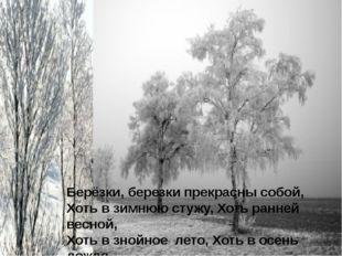 Берёзки, березки прекрасны собой, Хоть в зимнюю стужу, Хоть ранней весной, Хо