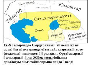 IX-X ғасырларда Сырдарияның төменгі және ортаңғы ағыстарындаоғыз тайпаларын