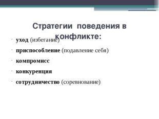 Стратегии поведения в конфликте: уход (избегание) приспособление (подавление