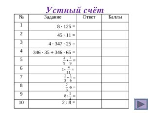 Устный счёт №ЗаданиеОтветБаллы 18 · 125 = 245 · 11 = 34 · 347 · 25