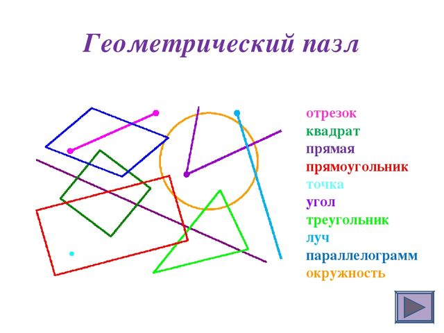 Геометрический пазл отрезок квадрат прямая прямоугольник точка угол треугольн...