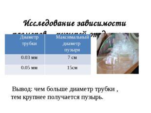Исследование зависимости размеров пузырей от диаметра трубки: Вывод: чем бол