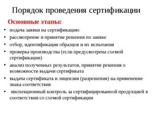 Порядок проведения сертификации Основные этапы: подача заявки на сертификацию