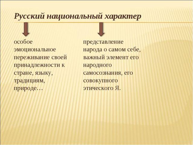 Русский национальный характер особое эмоциональное переживание своей принадле...
