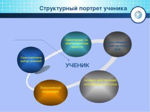 Структурный портрет ученика УЧЕНИК Ответственность за свои поступки и дела С