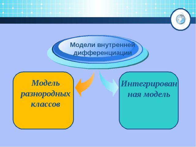 Модель разнородных классов Модели внутренней дифференциации Интегрированная...