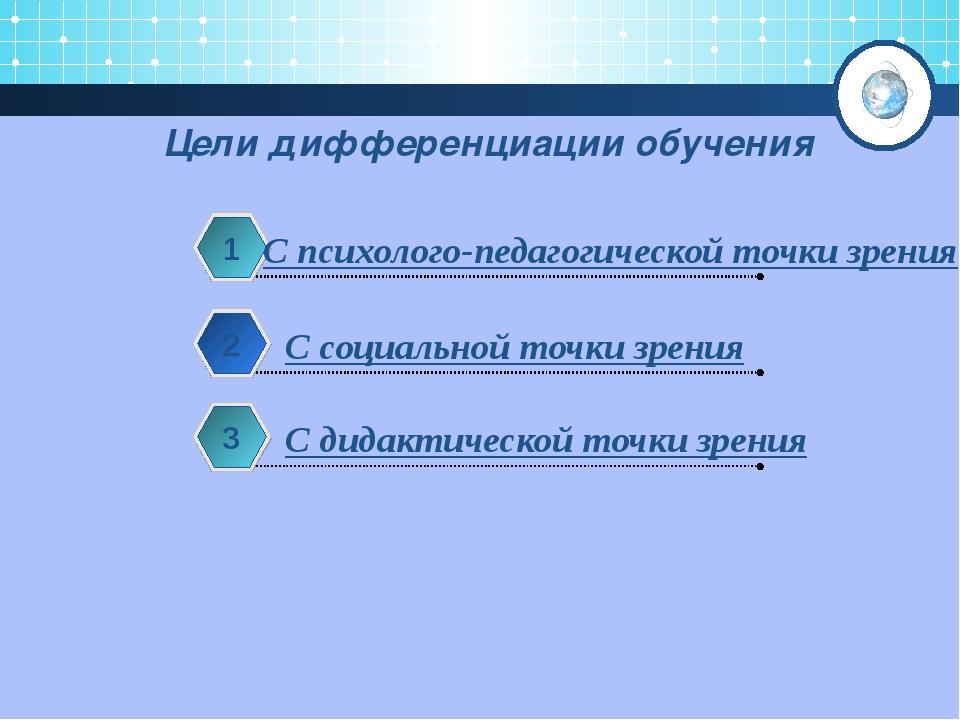 Цели дифференциации обучения  С психолого-педагогической точки зрения 1 С с...