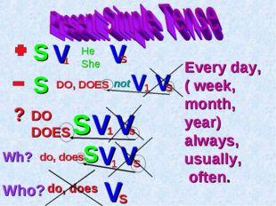 S V He She V s DO, DOES not V 1 1 V s ? DO DOES S V 1 V s Wh? do, does S V 1