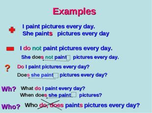 Examples I paint pictures every day. She paint pictures every day s I do not