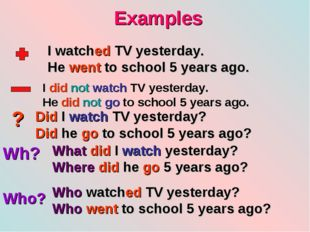 Examples ? Wh? Who? I watched TV yesterday. He went to school 5 years ago. I