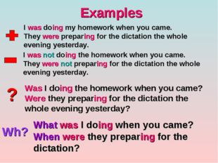 Examples ? Wh? I was doing my homework when you came. They were preparing for