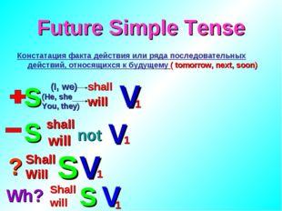 Future Simple Tense Констатация факта действия или ряда последовательных дейс