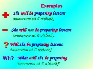 ? Wh? Examples She will be preparing lessons tomorrow at 6 o'clock. She will