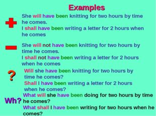 ? Wh? Examples She will have been knitting for two hours by time he comes. I
