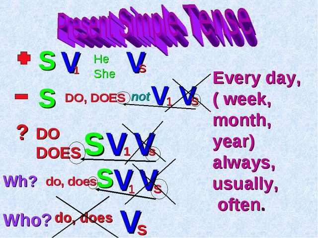 S V He She V s DO, DOES not V 1 1 V s ? DO DOES S V 1 V s Wh? do, does S V 1...