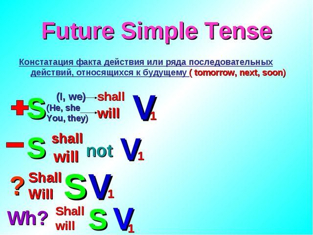 Future Simple Tense Констатация факта действия или ряда последовательных дейс...