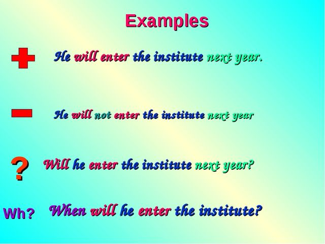 ? Wh? Examples He will enter the institute next year. He will not enter the i...