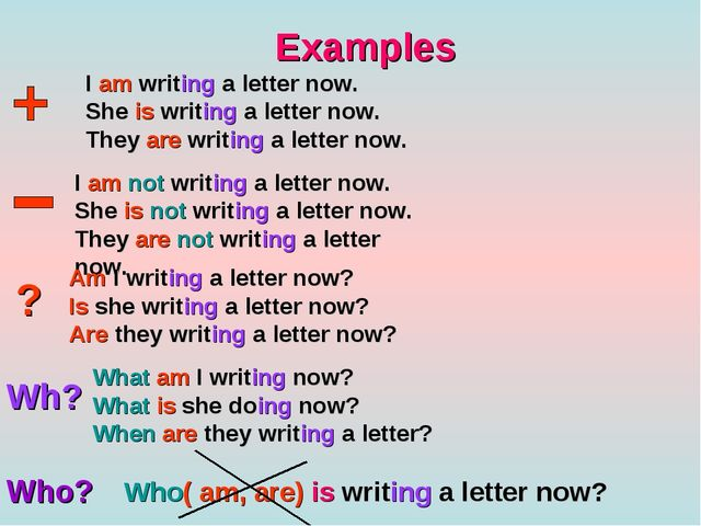 Examples I am writing a letter now. She is writing a letter now. They are wri...