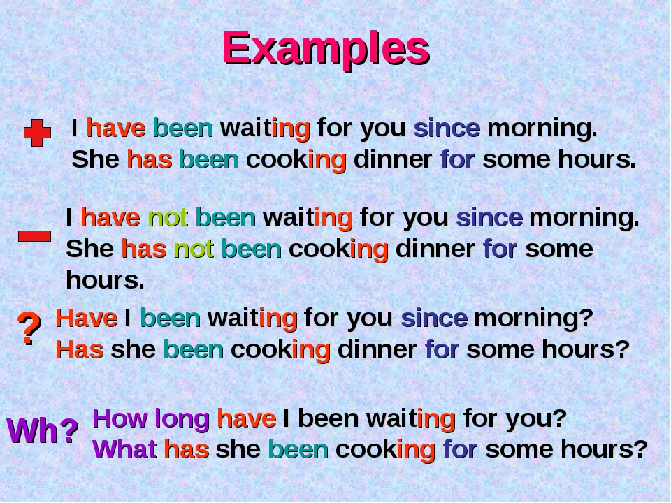 Examples ? Wh? I have been waiting for you since morning. She has been cookin...
