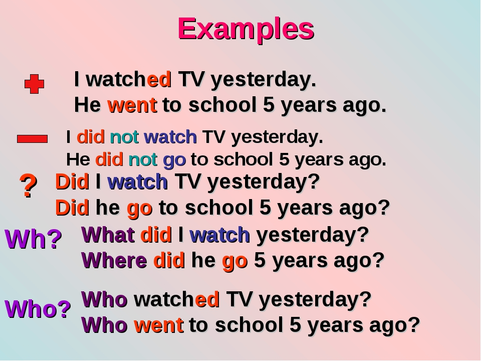 Examples ? Wh? Who? I watched TV yesterday. He went to school 5 years ago. I...