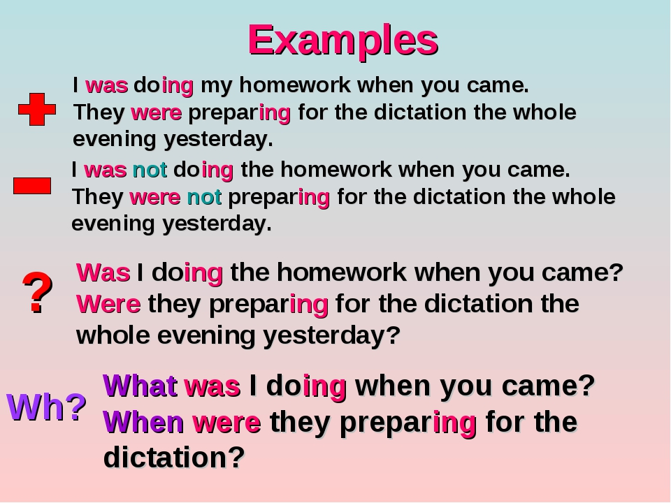 Examples ? Wh? I was doing my homework when you came. They were preparing for...