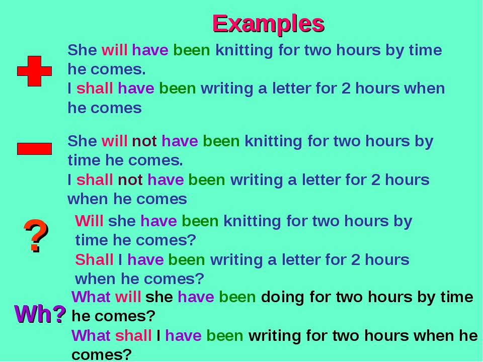 ? Wh? Examples She will have been knitting for two hours by time he comes. I...