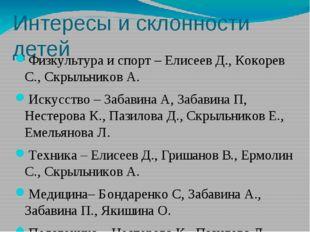 Интересы и склонности детей Физкультура и спорт – Елисеев Д., Кокорев С., Скр