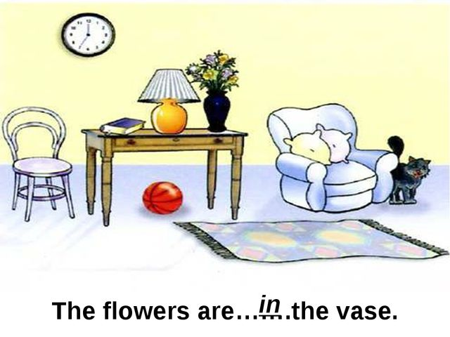 The flowers are…….the vase. in