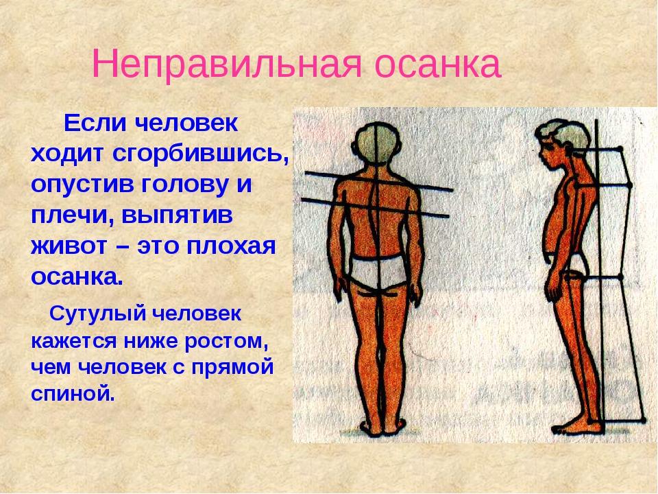 Неправильная осанка Если человек ходит сгорбившись, опустив голову и плечи, в...