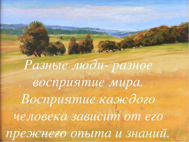 Разные люди- разное восприятие мира. Восприятие каждого человека зависит от е...