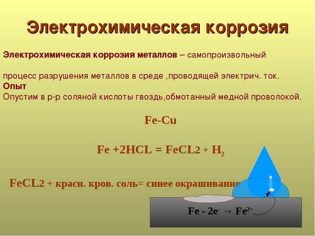 Электрохимическая коррозия Электрохимическая коррозия металлов – самопроизвол...