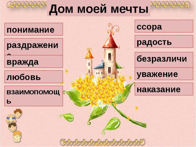 Дом моей мечты понимание раздражение вражда любовь взаимопомощь ссора радость...