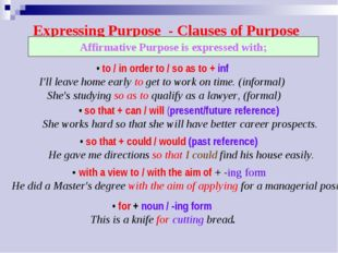 Expressing Purpose	- Clauses of Purpose • to / in order to / so as to + inf