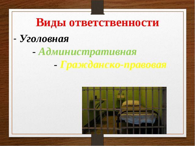 Лекция для учащихся Уголовная и административная ответственность  Виды ответственности Уголовная Административная Гражданско правовая
