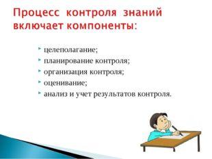целеполагание; планирование контроля; организация контроля; оценивание; анали