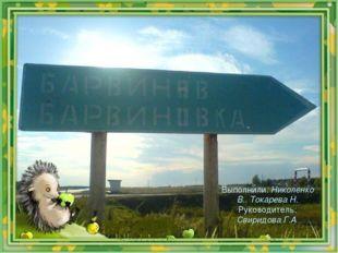 Выполнили: Николенко В.. Токарева Н. Руководитель: Свиридова Г.А.