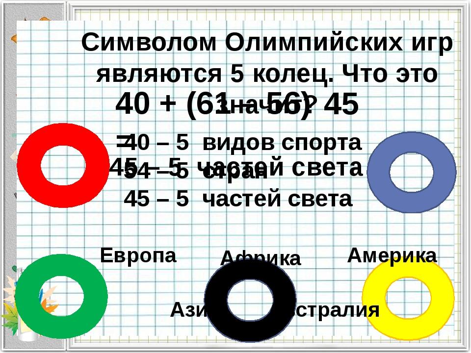 Символом Олимпийских игр являются 5 колец. Что это значит? 40 – 5 видов спорт...