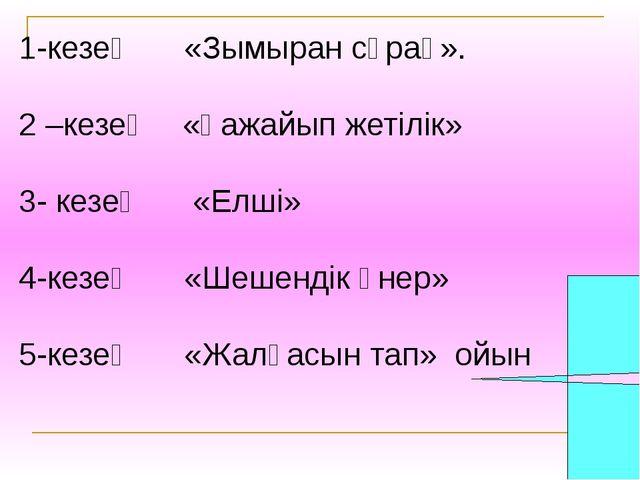 1-кезең «Зымыран сұрақ». 2 –кезең «Ғажайып жетілік» 3- кезең «Елші» 4-кезең...