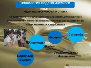 Кластеры Инсерт Синквейн Бортовой журнал Приёмы работы Технология педагогиче