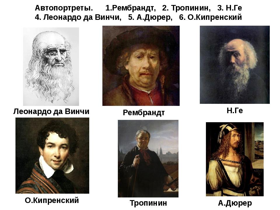 Автопортреты. 1.Рембрандт, 2. Тропинин, 3. Н.Ге 4. Леонардо да Винчи, 5. А.Дю...